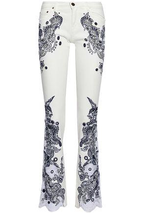 ROBERTO CAVALLI Embellished mid-rise slim-leg jeans