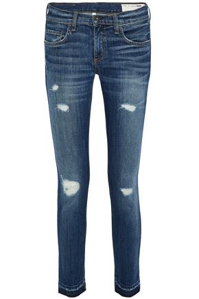 RAG & BONE/JEAN Distressed low-rise skinny jeans