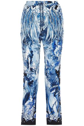 ROBERTO CAVALLI Printed silk crepe de chine straight-leg pants