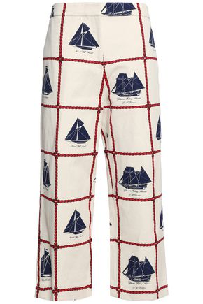 TORY BURCH Printed cotton and linen-blend culottes