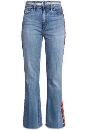TORY BURCH Braided-trimmed bootcut jeans