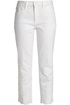 TORY BURCH Embroidered slim-leg jeans