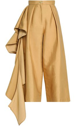 SOLACE LONDON Cropped ruffled canvas wide-leg pants