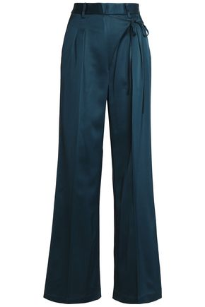 T by ALEXANDER WANG Pleated crepe wide-leg pants