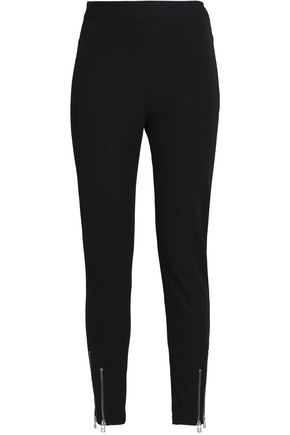 T by ALEXANDER WANG Zip-detailed stretch cotton and modal-blend ponte slim-leg pants