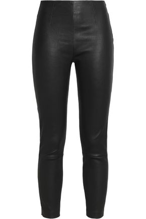T by ALEXANDER WANG Cropped leather skinny pants