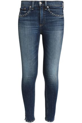RAG & BONE Studded faded mid-rise slim-leg jeans