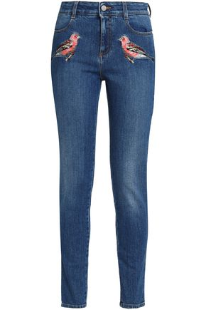 STELLA McCARTNEY Embroidered mid-rise skinny jeans