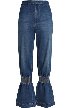 STELLA McCARTNEY Shirred faded mid-rise wide-leg jeans