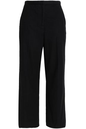 ROSETTA GETTY Cotton and cashmere-blend wide-leg pants