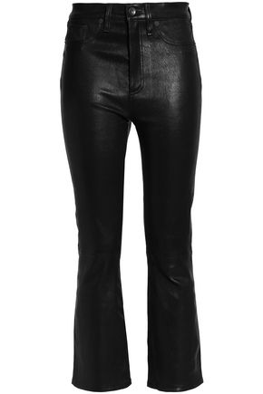 RAG & BONE/JEAN Cropped leather bootcut pants