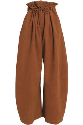 STELLA McCARTNEY Gathered faux suede wide-leg pants