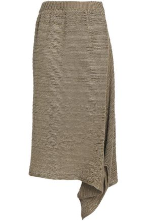 STELLA McCARTNEY Asymmetric open-knit linen skirt