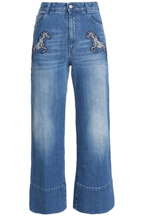 STELLA McCARTNEY Appliquéd high-rise wide-leg jeans