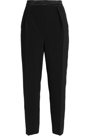 ROKSANDA Satin-trimmed crepe tapered pants