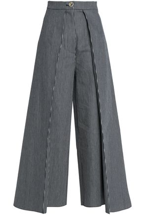 SOLACE LONDON Pleated striped cotton-blend wide-leg pants