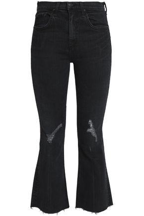 RAG & BONE/JEAN Distressed high-rise kick-flare jeans