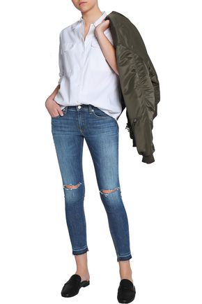 RAG & BONE Cropped distressed mid-rise skinny jeans