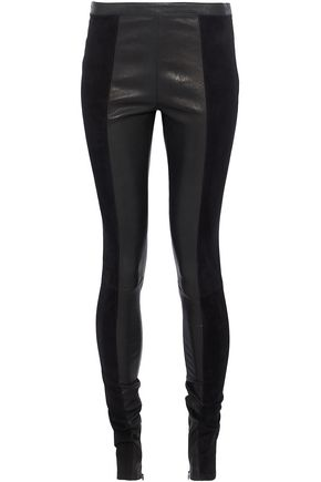 PROENZA SCHOULER Suede and leather skinny pants
