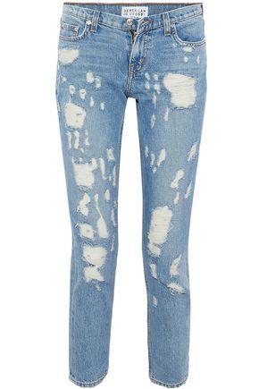 DEREK LAM 10 CROSBY Cropped distressed mid-rise slim-leg jeans