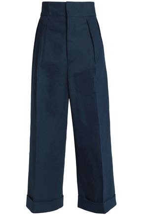 MARNI Pleated cotton-twill wide-leg pants