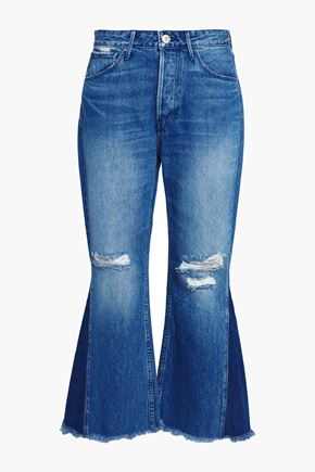 3x1 Distressed mid-rise kick-flare jeans
