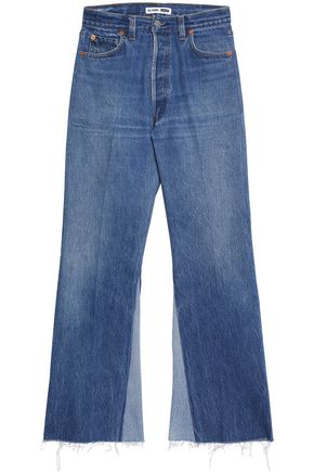 RE/DONE by LEVI'S Frayed paneled high-rise bootcut jeans