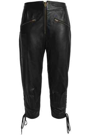 CHLOÉ Cropped lace-up leather slim-leg pants