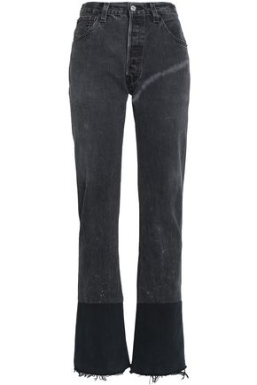 RE/DONE by LEVI'S Frayed high-rise straight-leg jeans