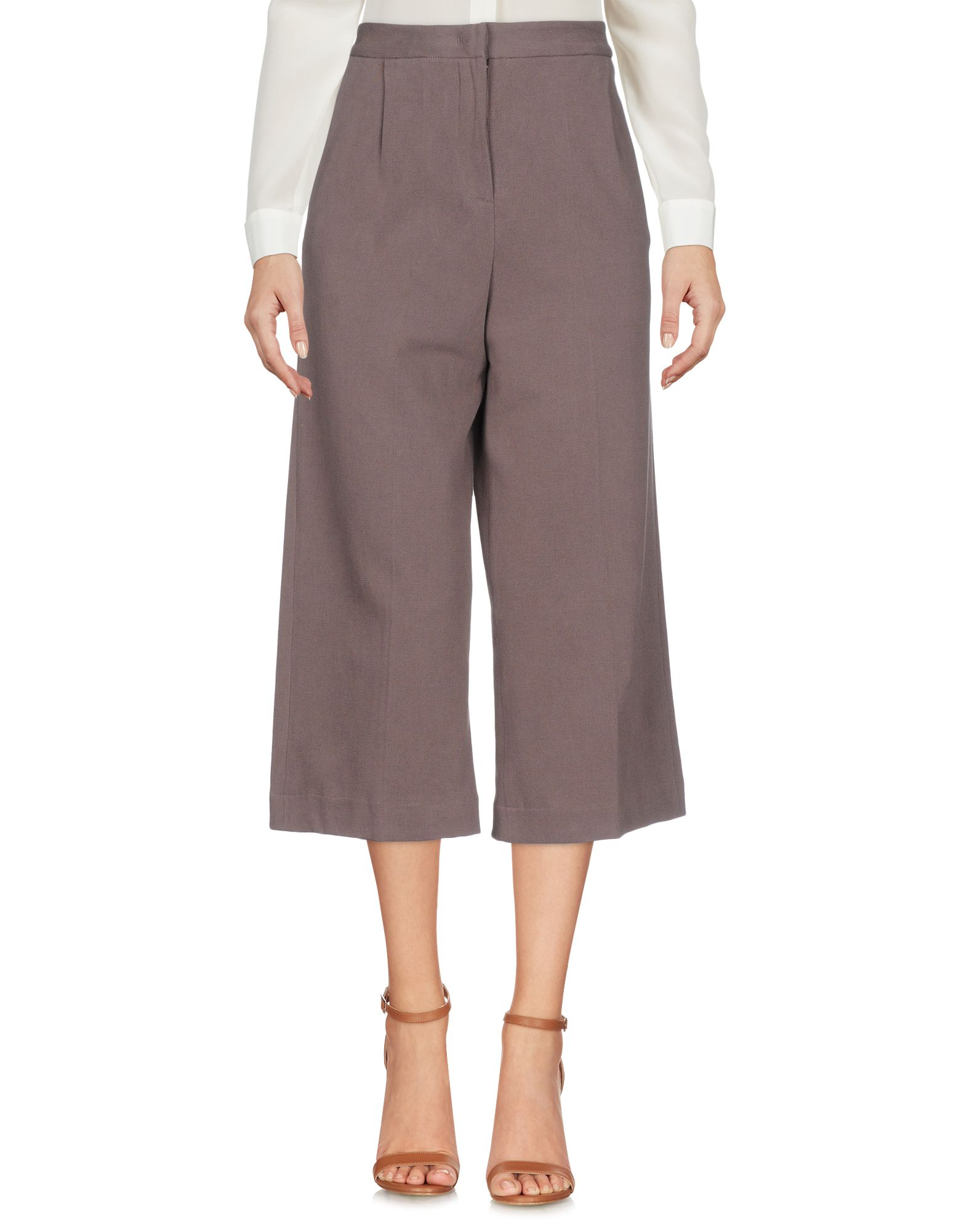 MANILA GRACE Cropped Pants & Culottes in Light Brown