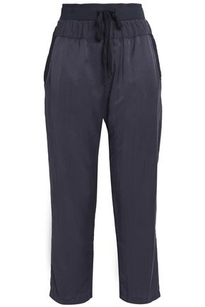 CLU Cropped silk and cotton-blend straight-leg pants