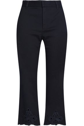 SEE BY CHLOÉ Broderie anglaise-trimmed cotton-blend twill flared pants