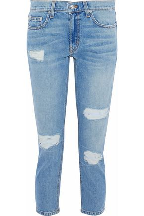DEREK LAM 10 CROSBY Cropped distressed mid-rise slim-leg jeans