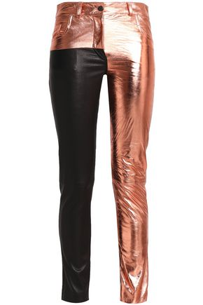 HAIDER ACKERMANN Paneled metallic and matte-leather skinny pants