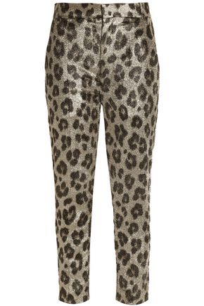 HAIDER ACKERMANN Metallic leopard-print silk-blend crepe slim-leg pants