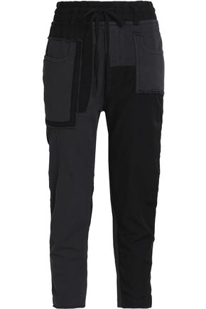 HAIDER ACKERMANN Distressed cotton-terry and cotton-blend twill track pants