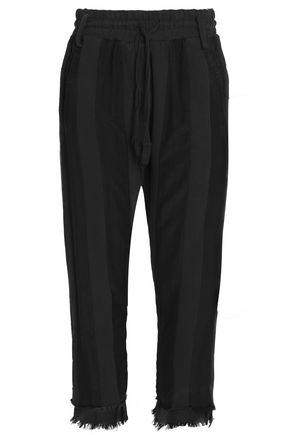 HAIDER ACKERMANN Cropped frayed twill-paneled cotton-terry  track pants