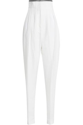 HAIDER ACKERMANN Pleated linen tapered pants