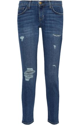 CURRENT/ELLIOTT Distressed mid-rise slim-fit jeans