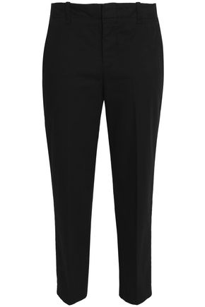 VINCE. Cropped cotton-blend faille tapered pants