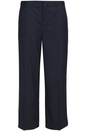 CHARLI Cropped striped twill straight-leg pants