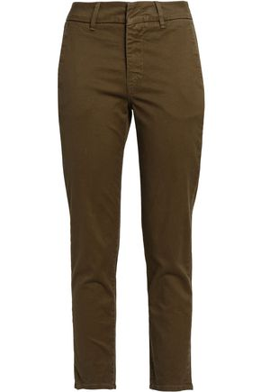 VINCE. Cropped cotton-blend twill slim-leg pants