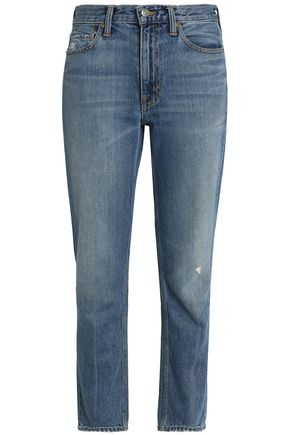 VINCE. Distressed faded high-rise slim-leg jeans