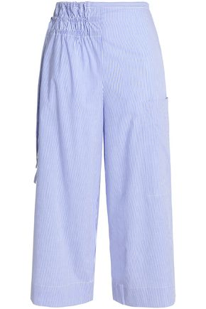 TIBI Gathered striped cotton-poplin wide-leg pants