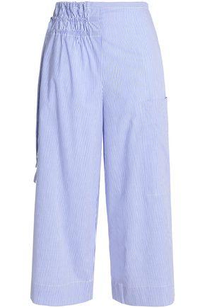 TIBI Gathered striped cotton-poplin wide-leg pants