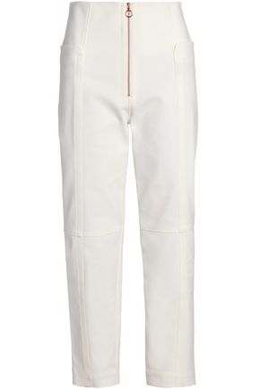 TIBI Cropped cotton-blend slim-leg pants