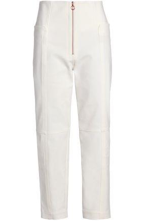 TIBI Cropped cotton-blend slim-leg pants