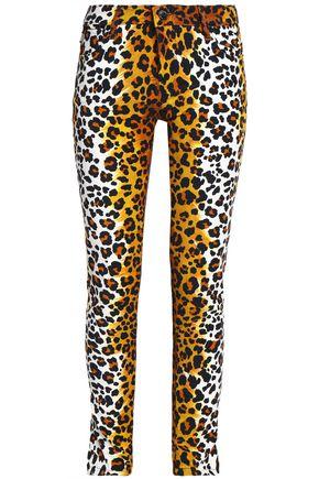 LOVE MOSCHINO Leopard-print cotton-blend velvet slim-leg pants
