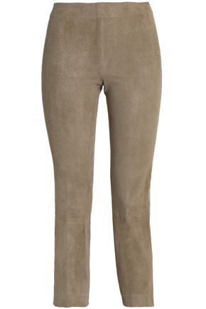 VINCE. Cropped suede skinny pants