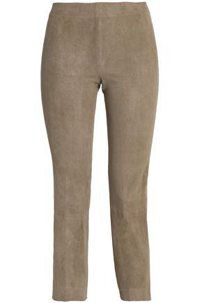 VINCE. Cropped suede skinny pants
